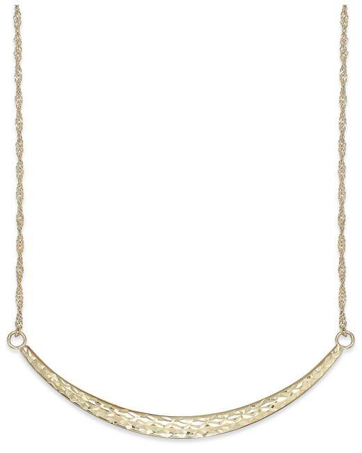 Macy's - Metallic Diamond-cut Curved Bar Pendant Necklace In 14k Gold - Lyst