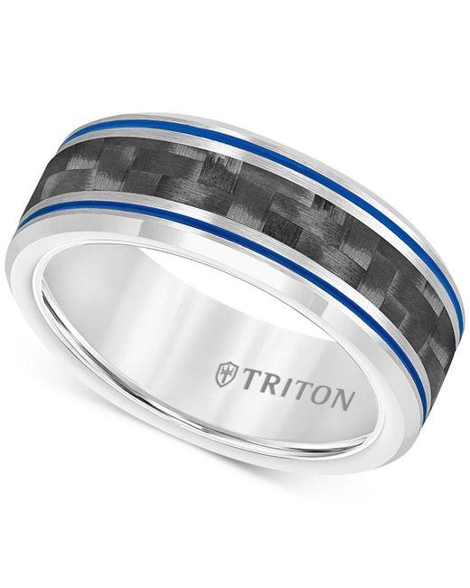 Macy's - Metallic Men's Blue Stripe Carbon Fiber Band In Tungsten Carbide - Lyst