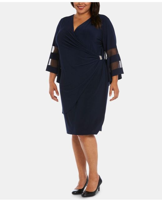 Women\'s Blue Plus Size Illusion Bell-sleeve Dress