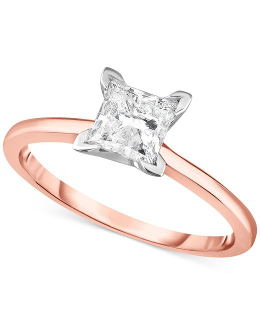 Macy's - Metallic Diamond Princess Engagement Ring (1.0 Ct. T.w.) In 14k White Gold, Rose Gold Or Yellow Gold. - Lyst