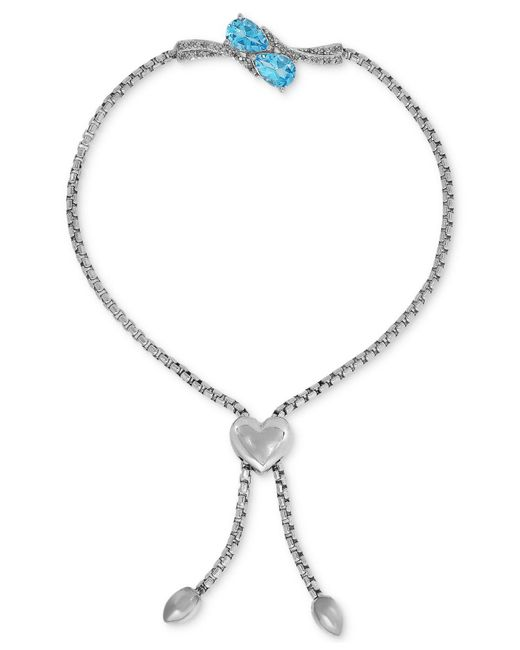 Macy's - Metallic Swiss Blue Topaz (1-1/2 Ct. T.w.) & Diamond Accent Slider Bracelet With Heart Bolo In Sterling Silver - Lyst