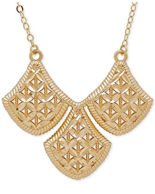 Macy's | Metallic Filigree Triple Drop Pendant Necklace In 10k Gold | Lyst