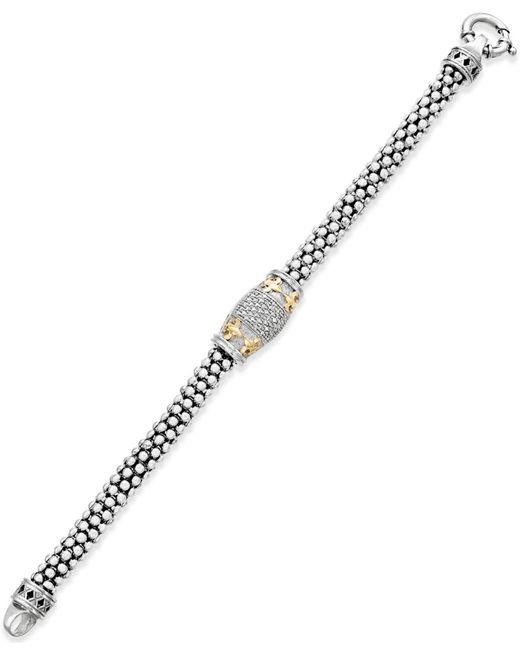 Macy's - Metallic Diamond Fleur De Lis Bracelet (1/4 Ct. T.w.) In 14k Gold-plated Sterling Silver - Lyst