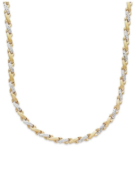 Macy's - X-necklace In 10k Yellow And White Gold for Men - Lyst