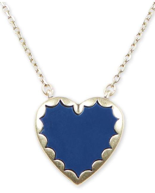 6d0abf57cb912 Lucky Brand - Metallic Gold-tone Stone Heart Pendant Necklace