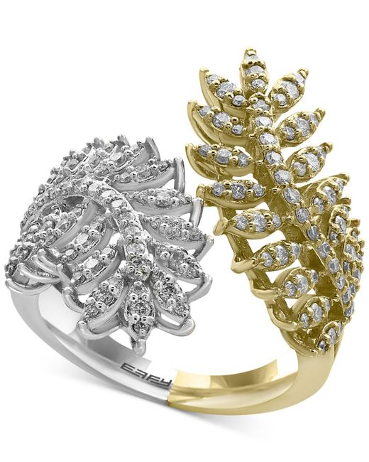 Effy Collection - Metallic Diamond Feather Bypass Ring (3/4 Ct. T.w.) In 14k Two-tone Gold - Lyst