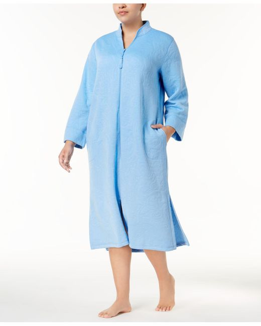 Miss Elaine | Blue Plus Size Quilted Robe | Lyst