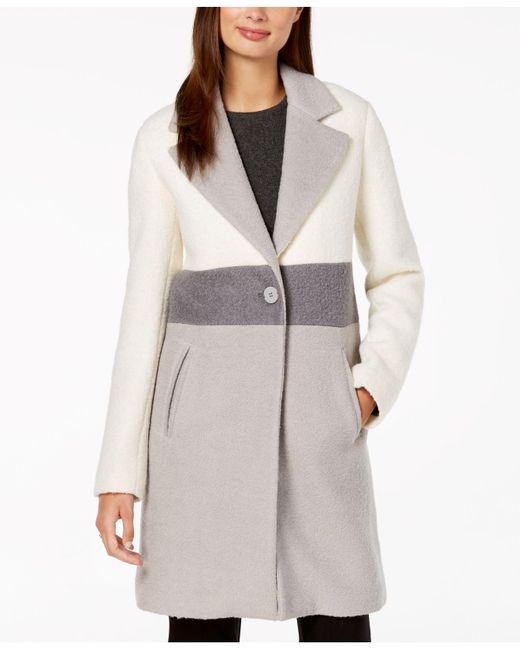 Laundry by Shelli Segal - White Colorblocked Coat - Lyst