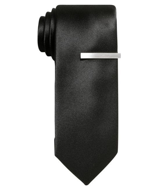 "Alfani - Black Tie, 2-3/4"" Solid Skinny Tie With Tie Bar for Men - Lyst"