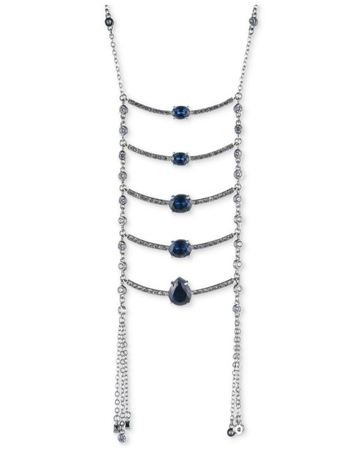 Carolee | Blue Silver-tone Stone Ladder Necklace | Lyst