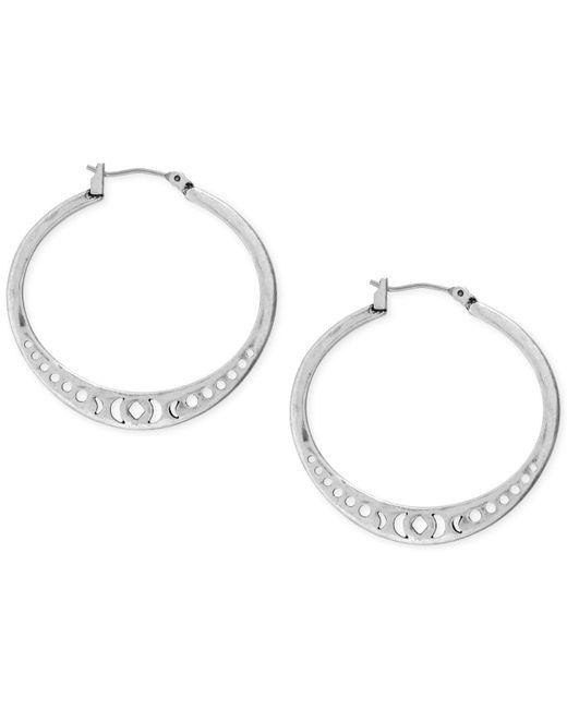 "Lucky Brand - Metallic Silver-tone Openwork 1-3/8"" Hoop Earrings - Lyst"