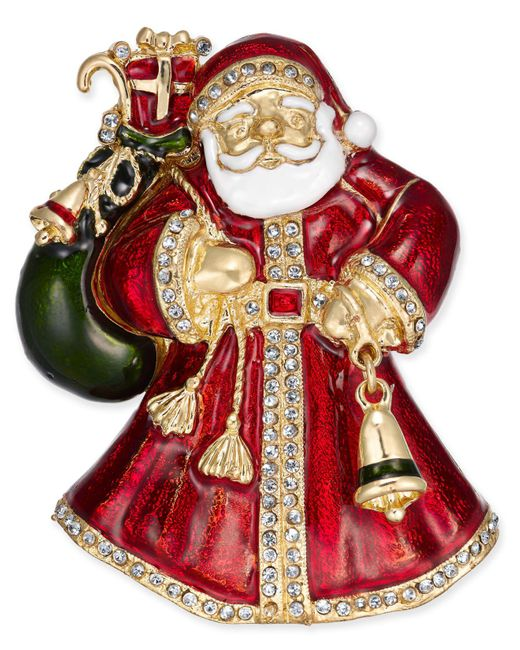Charter Club - Metallic Holiday Lane Gold-tone Crystal & Epoxy Santa Claus Pin, Created For Macy's - Lyst