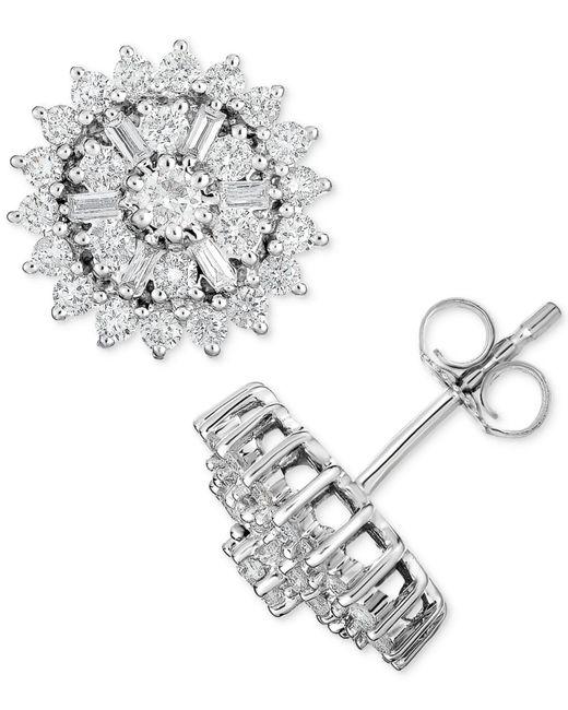 Macy's | Metallic Diamond Starburst Cluster Stud Earrings (1 Ct. T.w.) In 14k White Gold | Lyst