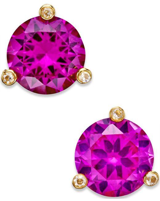 Kate Spade - Purple Gold-tone Mini Round Stud Earrings - Lyst