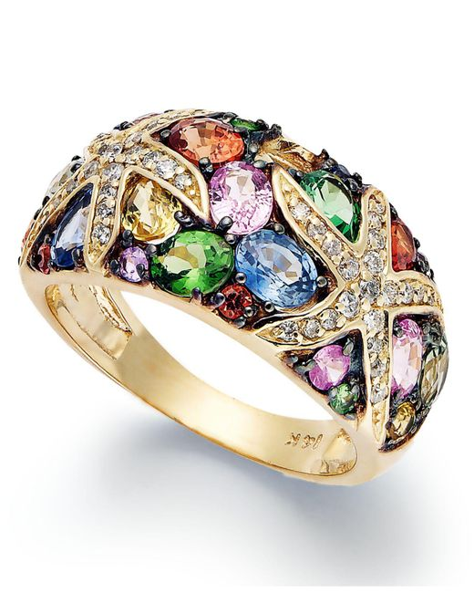 Effy Collection - Metallic Watercolors By Effy Multistone And Diamond Starfish Ring (3-1/2 Ct. T.w.) In 14k Gold - Lyst