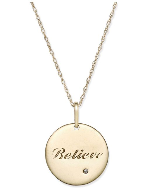 Macy's - Metallic Swarovski Zirconia Inspirational Disc Pendant Necklace In 10k Gold - Lyst