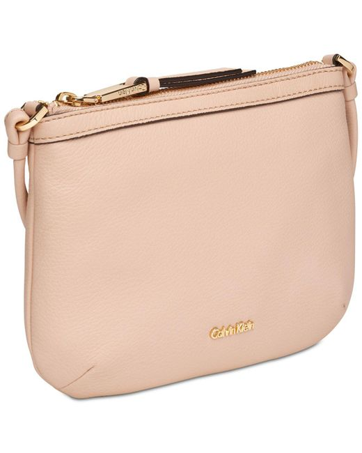 2808d7df054 ... Calvin Klein - Natural Key Items Pebble Leather Crossbody - Lyst ...