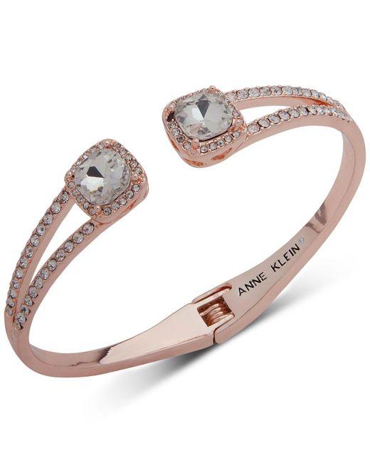 Anne Klein - Metallic Crystal & Pavé Hinged Bangle Bracelet, Created For Macy's - Lyst