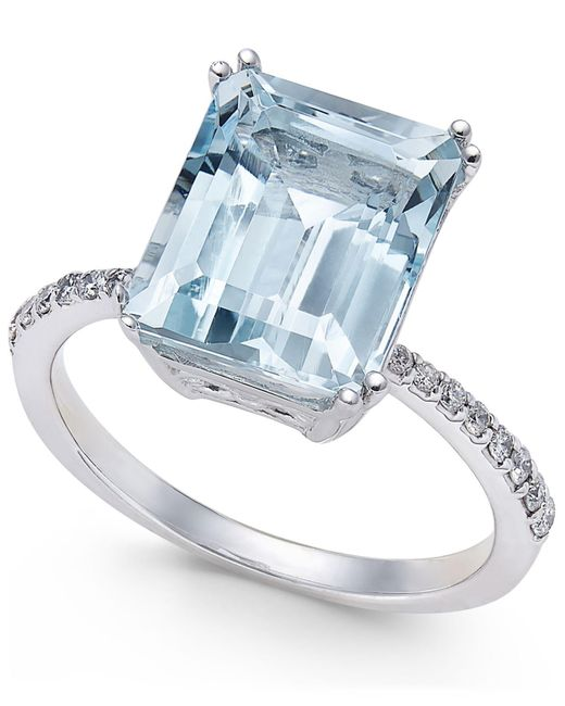 Effy Collection - Blue Aquamarine (3-3/4 Ct. T.w.) And Diamond (1/6 Ct. T.w.) Ring In 14k White Gold - Lyst