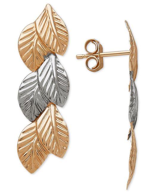 Macy's - Metallic Two-tone Leaf Drop Earrings In 14k Gold & White Gold - Lyst