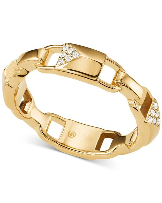 Michael Kors - Metallic Mercer Link Sterling Silver Padlock Ring - Lyst
