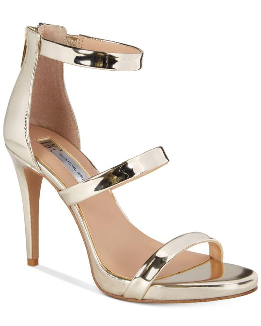 INC International Concepts - Metallic Sadiee Strappy Dress Sandals - Lyst