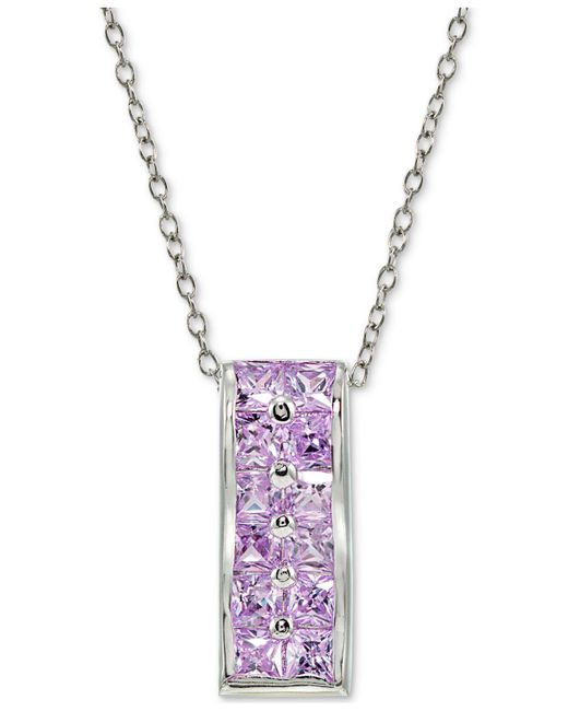 Giani Bernini | Metallic Cubic Zirconia Purple Cluster Pendant Necklace In Sterling Silver | Lyst