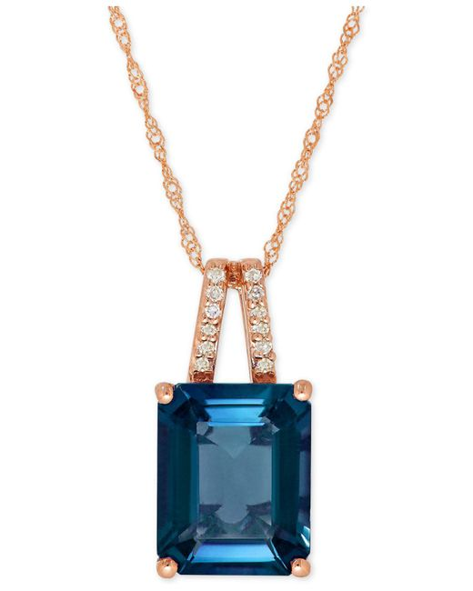 Macy's - Amethyst (2-9/10 Ct. T.w.) And Diamond Accent Pendant Necklace In 14k Gold (also Available In London Blue Topaz) - Lyst