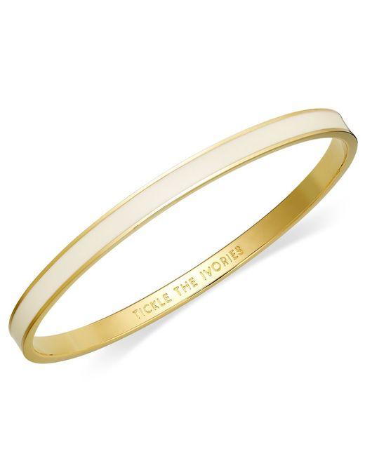 kate spade new york   Metallic Bracelet, 12k Gold-plated Cream Enamel Tickle The Ivories Idiom Bangle Bracelet   Lyst