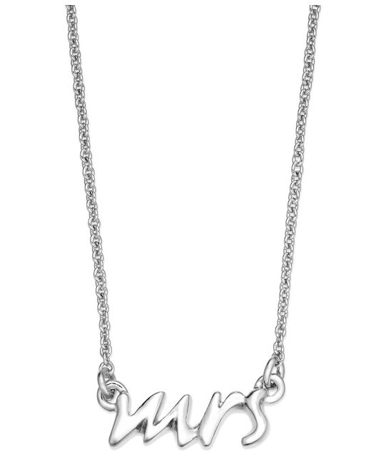 Kate Spade | Metallic Necklace, Silver Tone Say Yes Mrs. Pendant Necklace | Lyst