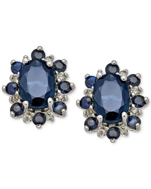Macy's - Blue Sapphire (1-7/8 Ct. T.w.) & Diamond Accent Stud Earrings In 14k White Gold - Lyst