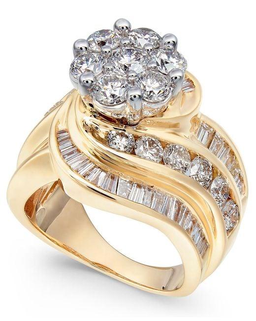 Macy's - Metallic Diamond Cluster Swirl Ring (4 Ct. T.w.) In 14k Gold - Lyst
