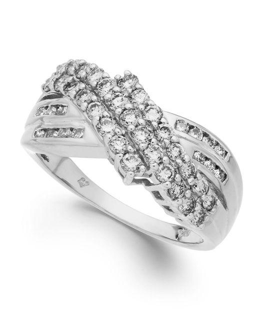 Macy's | White Diamond Three-row Ring In 14k Gold (1 Ct. T.w.) | Lyst