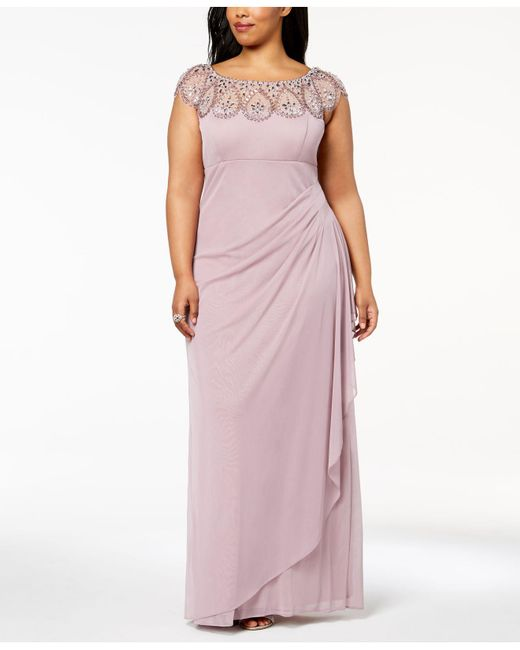 Lyst - Xscape Plus Size Illusion Beaded Gown in Purple