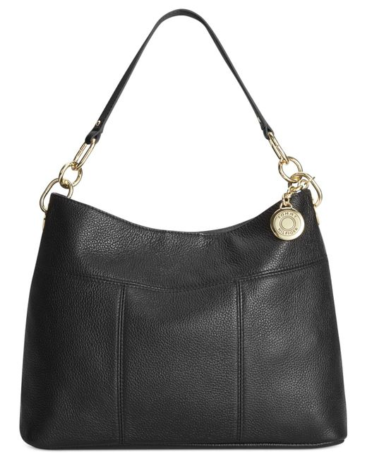 Tommy Hilfiger | Black Th Signature Leather Small Hobo | Lyst