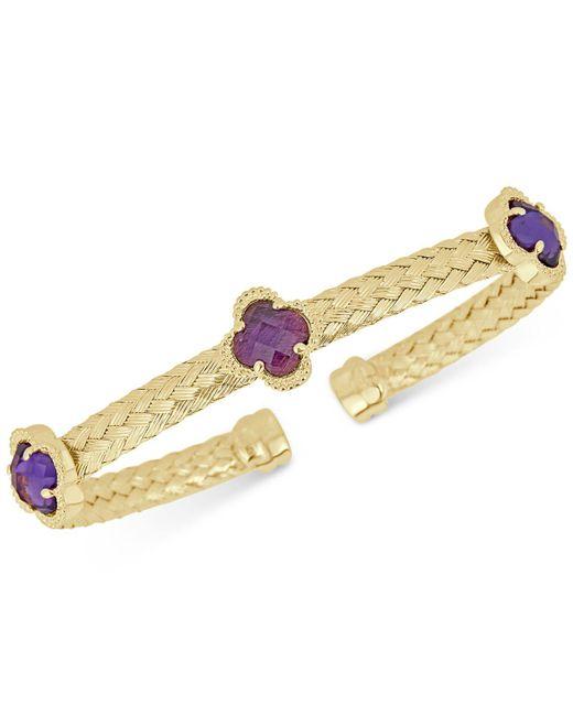Macy's | Metallic Amethyst Woven Cuff Bracelet (3-1/3 Ct. T.w.) In 14k Gold-plated Sterling Silver | Lyst