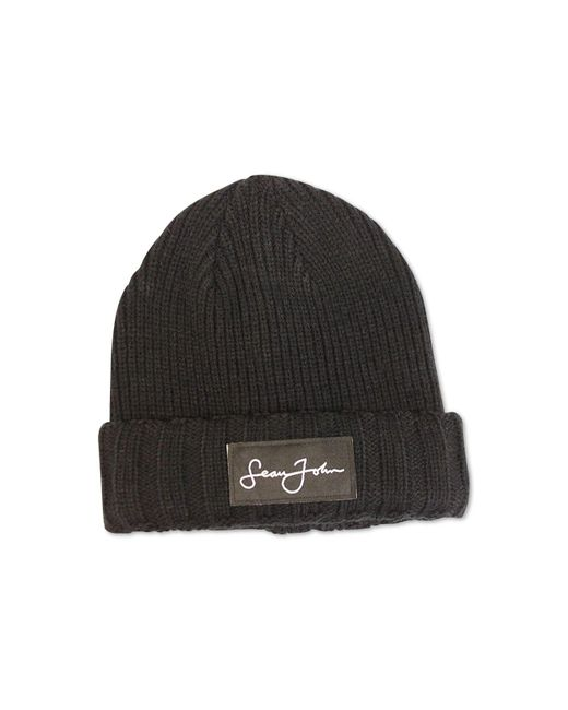 Sean John - Black Woven Label Double Roll Cuff Beanie 2e41ebc969f5