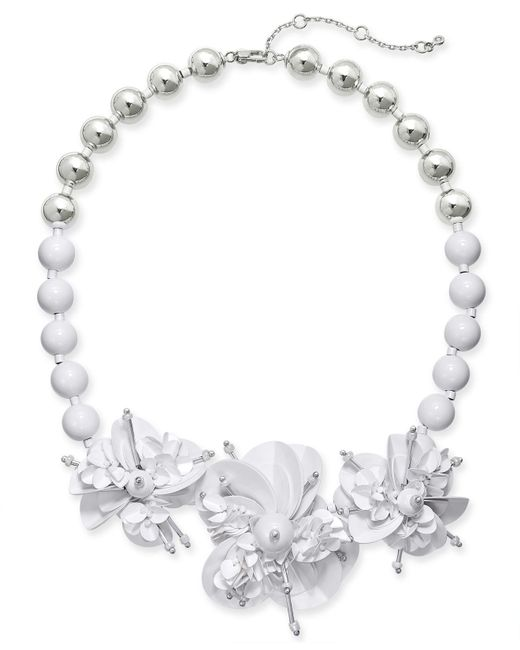 Lyst Kate Spade Sequin Bead Leather Flower Statement Necklace