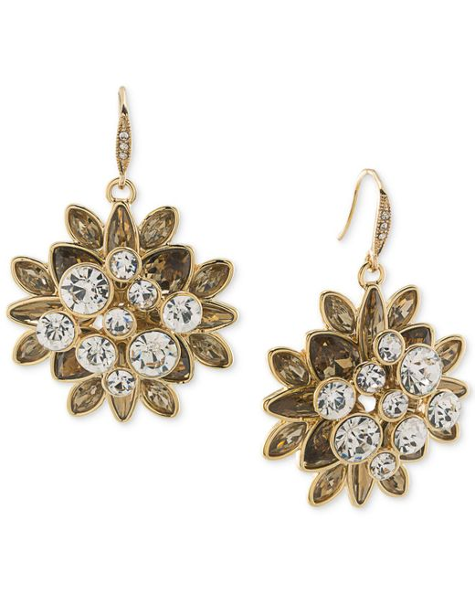 Carolee | Metallic Gold-tone Crystal Cluster Drop Earrings | Lyst