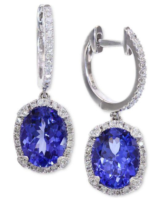 Effy Collection - Tanzanite (3-3/8 Ct. T.w.) And Diamond (1/3 Ct. T.w.) Hoop Earrings In 14k White Gold - Lyst
