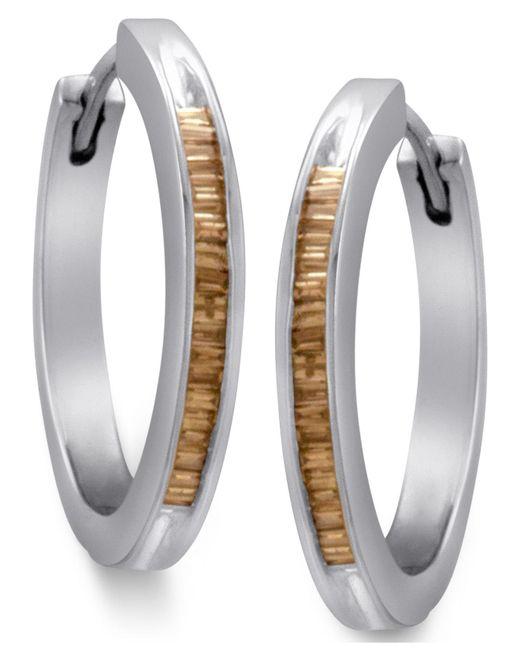 Macy's | Metallic Sterling Silver Earrings, Champagne Diamond Baguette Hoop Earrings (1/2 Ct. T.w.) | Lyst