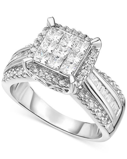 Macy's - Metallic Diamond Halo Engagement Ring In 14k White Gold (2 Ct. T.w.) - Lyst