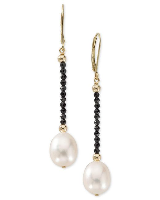 Macy's - Metallic Cultured Freshwater Pearl (10mm) And Black Spinel Drop Earrings In 14k Gold - Lyst