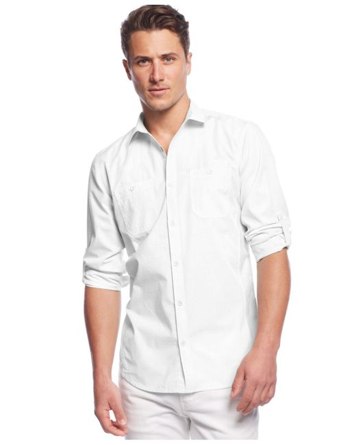 INC International Concepts   White Work Striped Shirt for Men   Lyst