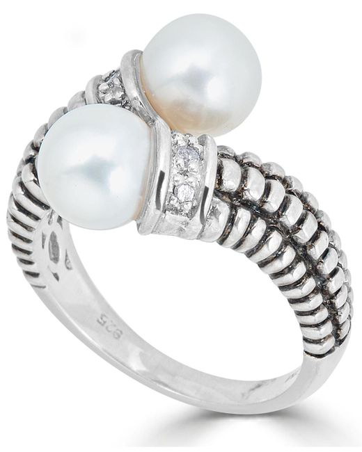Macy's - Metallic Cultured Freshwater Pearl (7mm) & Diamond Accent Bypass Ring In Sterling Silver - Lyst