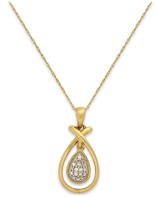 Macy's | Metallic Diamond (1/10 Ct. T.w.) Teardrop Frame Pendant Necklace In 10k Gold | Lyst