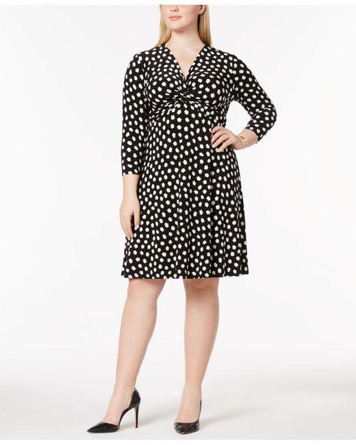 Anne Klein Plus Size Twisted Empire Waist Dress In Black Lyst