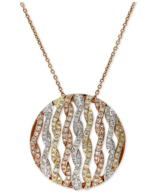 Effy Collection | Metallic Diamond Openwork Circle Pendant Necklace (3/4 Ct. T.w.) In 14k Tri-color Gold | Lyst
