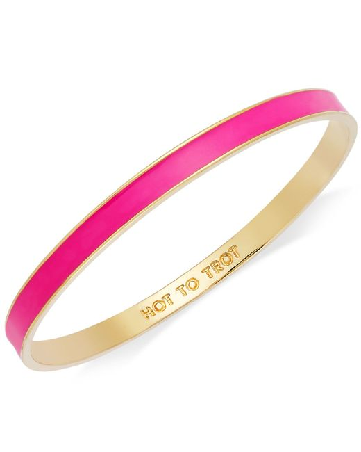 "kate spade new york | Metallic Bracelet, Gold-tone Fluorescent Pink ""hot To Trot"" Idiom Bangle Bracelet 