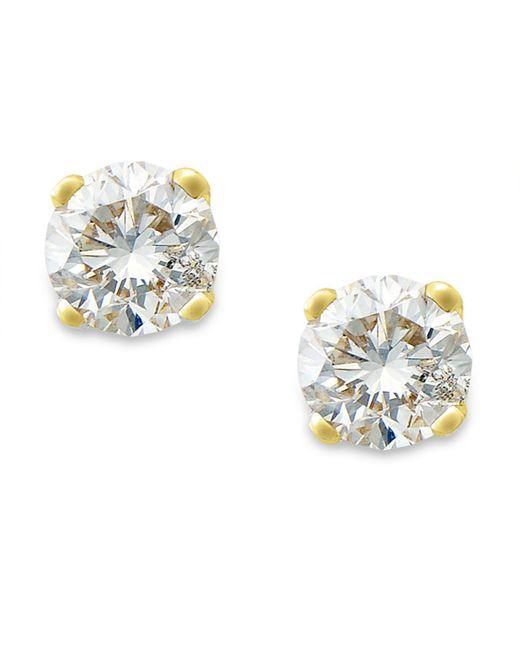 Macy's | Metallic Round-cut Diamond Stud Earrings In 10k Gold (1/10 Ct. T.w.) | Lyst